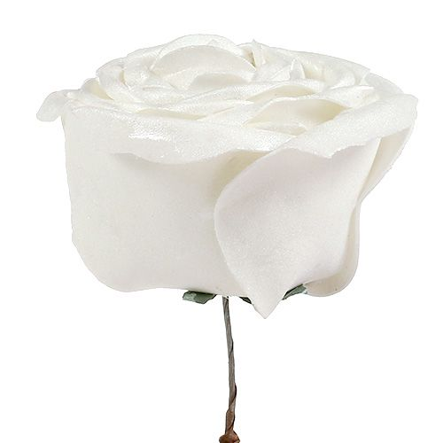 Foam-Rose blanco con nácar Ø10cm 6pcs