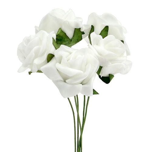 Foam Rose Ø 3,5cm blanco 48pcs