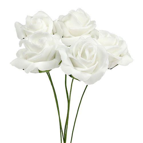 Foam Rose Ø4.5cm blanco 36pcs