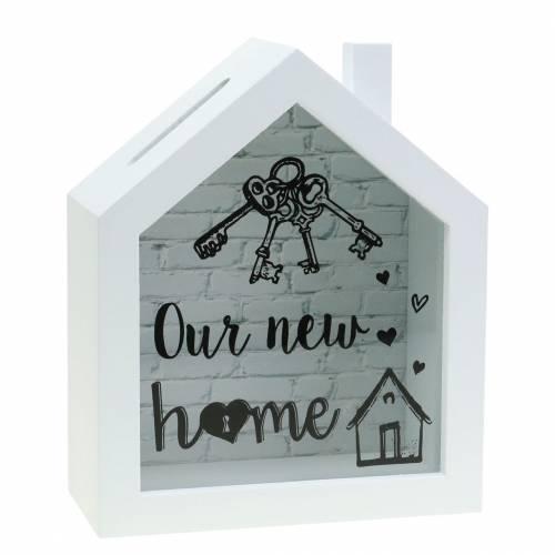 """Caja económica """"Nuestro nuevo hogar"""" madera vidrio blanco 15x7cm H18cm"""