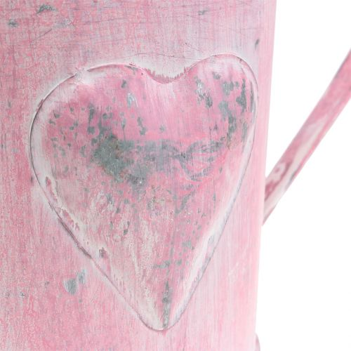 Regadera para maceta con corazón rosa, blanco lavado Ø12.5cm H13cm