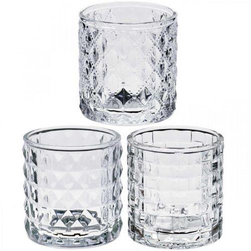 Mezcla de patrones de linterna de vidrio, decoración de velas, recipiente decorativo de vidrio, decoración de mesa 3 piezas en un juego