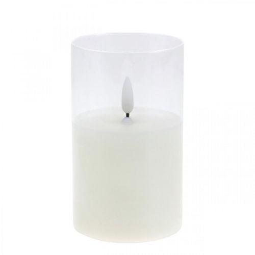 Vela LED en vidrio con efecto llama, vela interior blanco cálido, LED con temporizador, funciona con pilas Ø7.5 H12.5cm