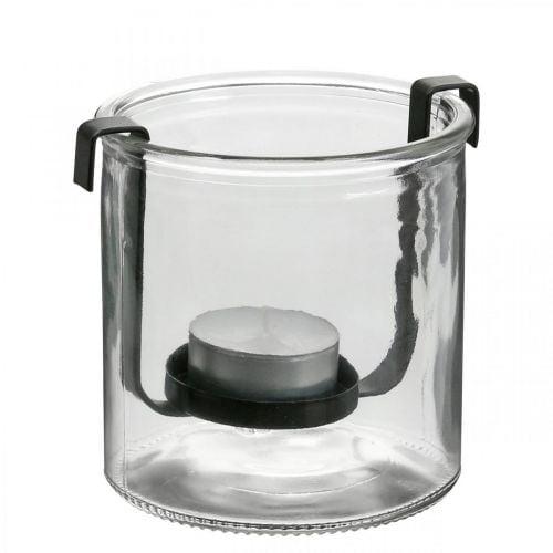 Farol de cristal con portavelas de metal negro Ø9 × Al10cm