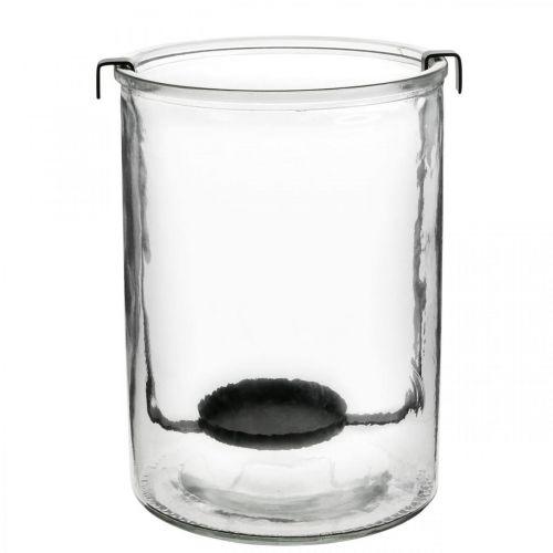 Farol de cristal con portavelas de metal negro Ø13,5 × Al20cm
