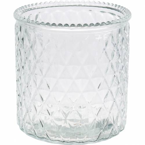 Florero de cristal de cristal decorativo del diamante del florero del claro 6pcs