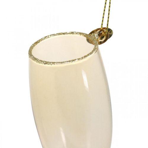 Botella y copa de champán, adornos para árboles, aniversario, decoración de cristal para colgar, víspera de Año Nuevo de 14,5 cm de cristal real juego de 2