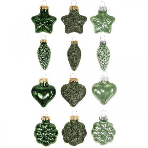 Mini adornos para árboles de Navidad mezcla de vidrio verde adornos navideños surtidos 4 cm 12 piezas