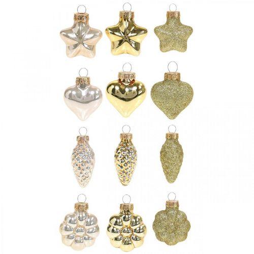 Mini decoraciones para árboles de Navidad mezcla de vidrio dorado, colores perlados surtidos 4cm 12pcs