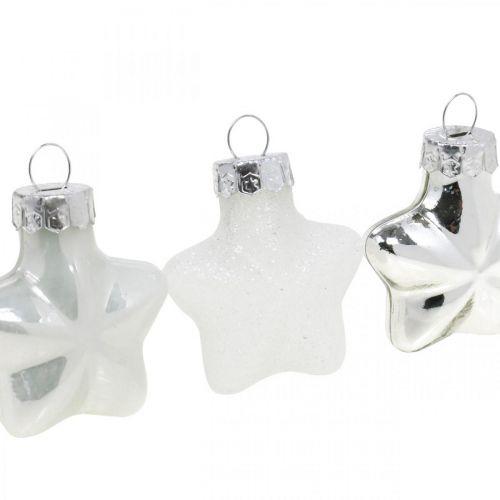 Mini adornos para árboles de Navidad mezcla de vidrio blanco, plateado surtido 4cm 12pcs