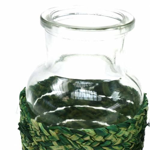 Botella de vidrio con bastón verde H12.5cm 3 piezas