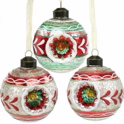 Bolas de árbol de Navidad con patrón, adornos de árbol, bolas de Navidad de colores H9cm Ø8cm vidrio real 3ud
