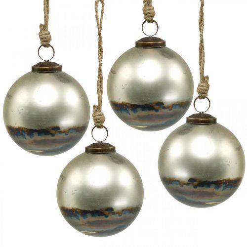 Bolas de Navidad Bola de cristal bicolor azul metalizada Ø9.5cm 4ud