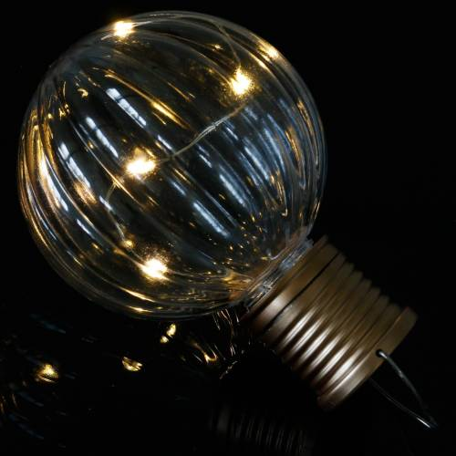 Lámpara LED solar retro look transparente blanco cálido Ø8cm