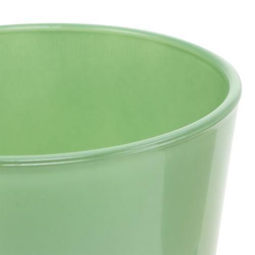Maceta de vidrio Ø10cm H8,5cm Verde menta