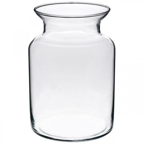 Florero de cristal ancho claro Ø12cm H20cm