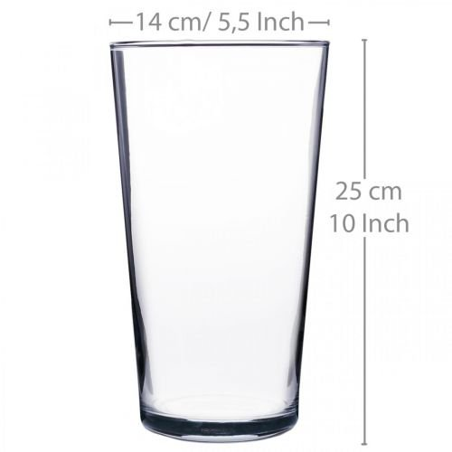 Florero de vidrio cónico transparente Ø14cm H25cm
