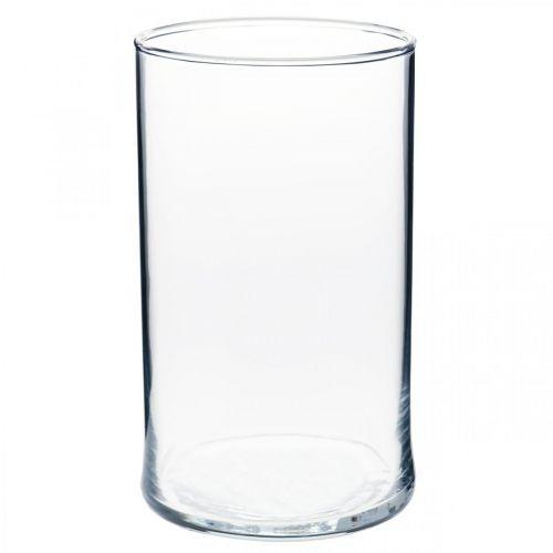 Jarrón de vidrio transparente cilíndrico Ø12cm H20cm