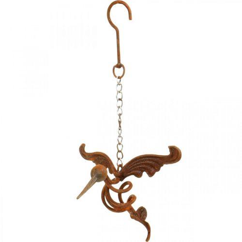 Kolibri decoración de jardín pájaro de acero inoxidable para colgar 24 × 19cm