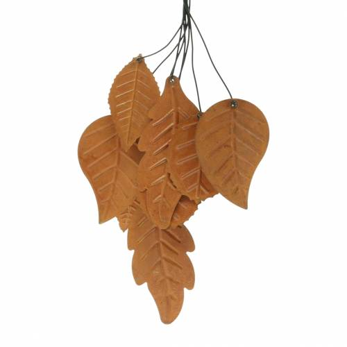 Percha decorativa hojas de otoño pátina metal H25cm 2pcs