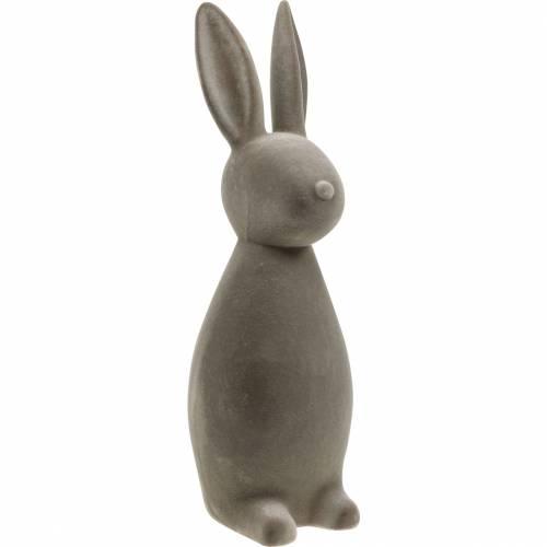 Conejito Conejito de Pascua flocado gris oscuro Decoración de Pascua Decoración de mesa Pascua