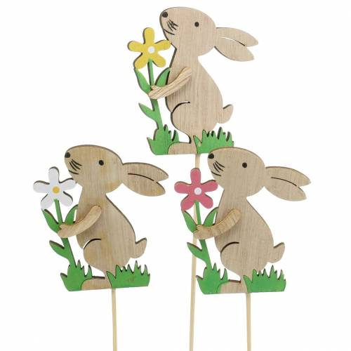 Conejo de flores de madera 9cm 12pcs