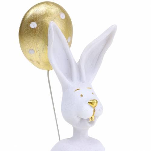Conejo con Globo Blanco Sentado, Oro H13.5cm 2pcs