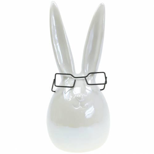 Conejito de Pascua con gafas de cerámica blanca nácar Al. 27 cm
