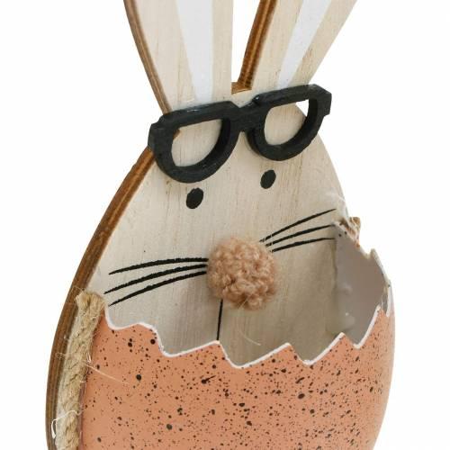 Conejo de madera en huevo, decoración primaveral, conejos con gafas, conejitos de Pascua 3ud