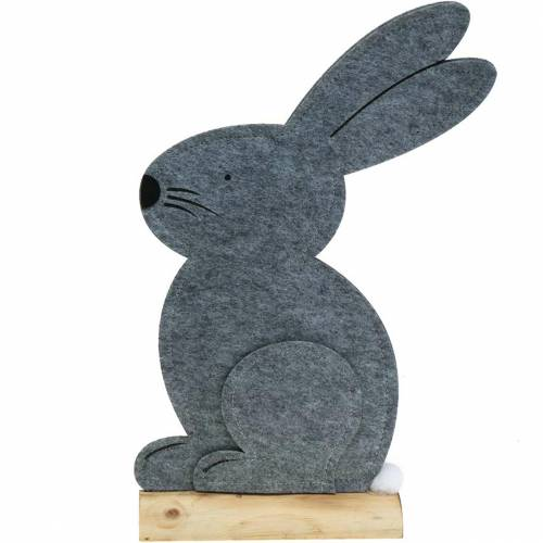 Conejo sentado fieltro gris 27cm x 6cm H40.5cm