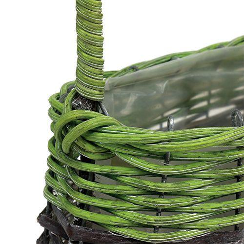 Asa cesta ovalada 23cm x 12cm H16cm verde-marrón