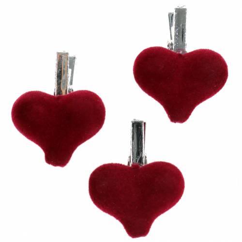 Deco corazón con pinza roja 3cm 8pcs
