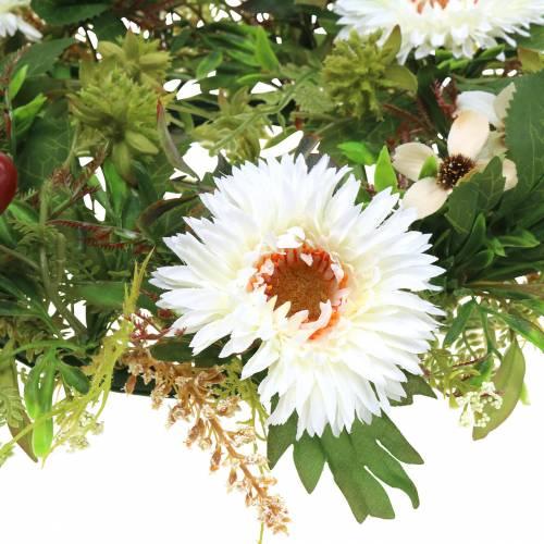 Guirnalda de otoño crisantemo blanco Ø30cm