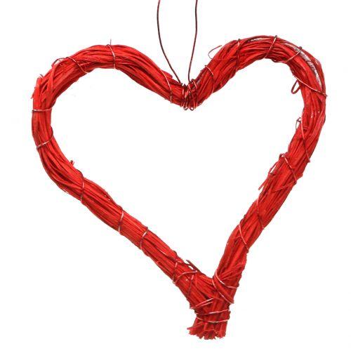 Bast corazón para colgar rojo 10cm 12pcs