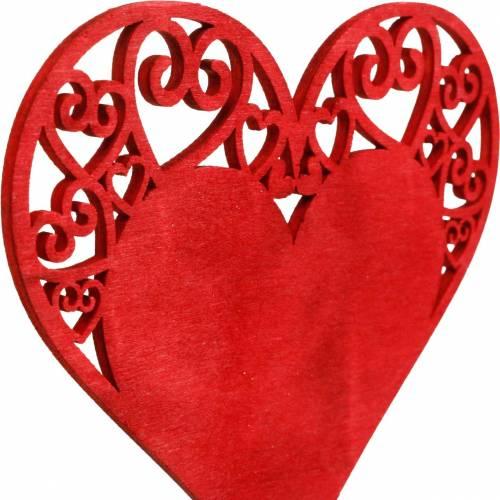Corazón en el palo, corazón de enchufe decorativo, decoración de boda, día de San Valentín, decoración de corazón 16 piezas