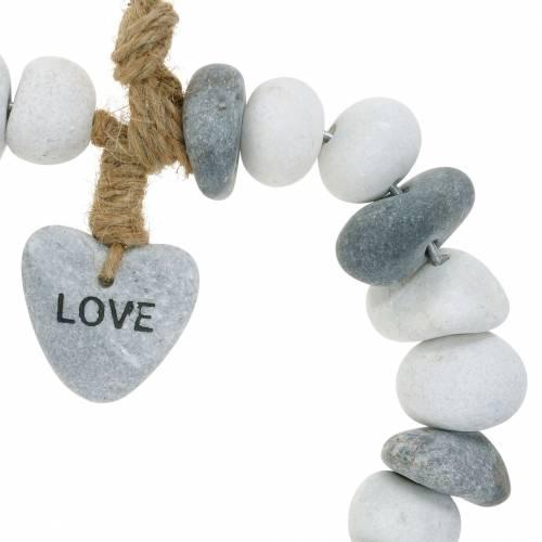 """Corazón para colgar """"Love"""" de guijarros de río Nature, gris / blanco Ø18cm 1 ud"""