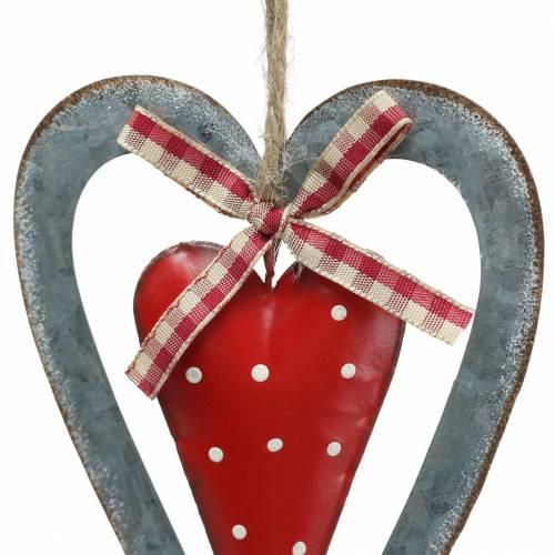 Corazón decorativo para colgar metal rojo, plateado Ø8,8 H15cm 3ud