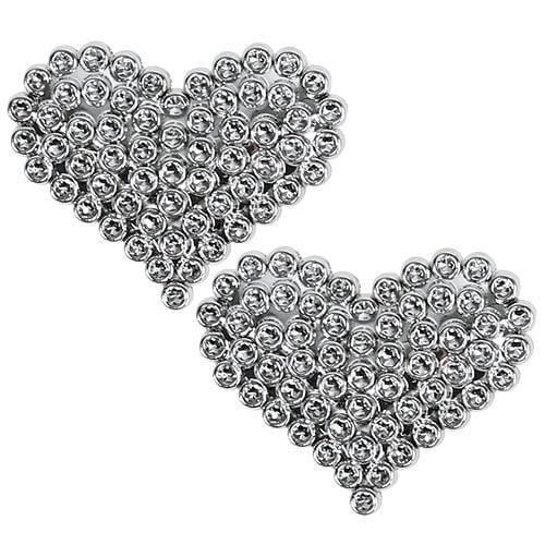 Corazón 6,5cm plata con pegamento dot 12pcs