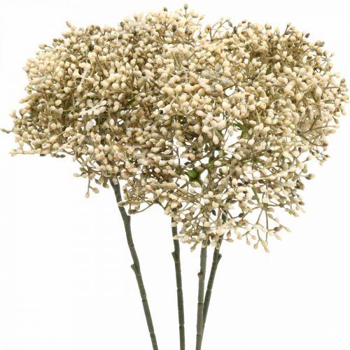 Rama de flor decorativa blanca crema de saúco artificial 52cm 4 piezas