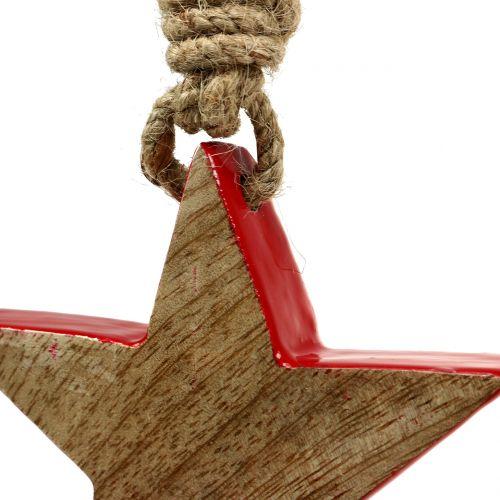 Estrella de madera roja, naturaleza 10cm para colgar 1pc