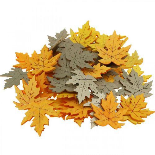 Espolvorear decoración otoño, hojas de arce, hojas de otoño dorado, naranja, amarillo 4cm 72p