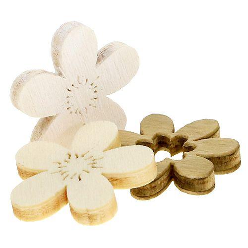 Flores de madera para esparcir. 2cm natural 144p