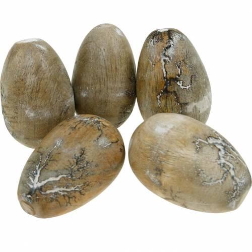 Huevo de gallina decorativo, huevos de Pascua de madera de mango natural 12pcs