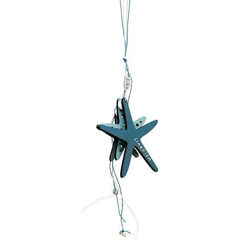 Percha de madera estrella de mar azul 36cm 4pcs