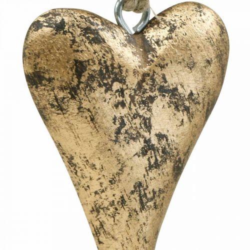 Corazón de madera efecto dorado, San Valentín, decoración de boda 10 × 7cm