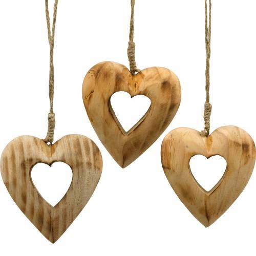 Corazón colgante decorativo, corazón de madera, San Valentín, colgante de madera, decoración de boda 6 piezas