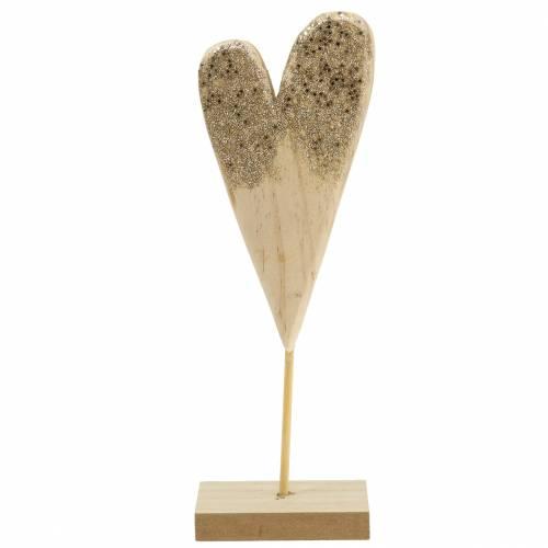 Deco corazón en el soporte de madera con brillo H27cm