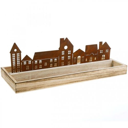 Bandeja decorativa rectangular de madera con casitas oxidadas 35 × 15cm