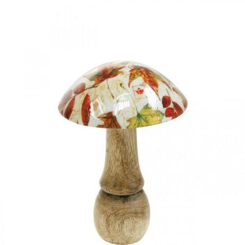 Decoración de setas de madera hojas de otoño blanco, decoración de mesa de setas de colores Ø10cm H15cm