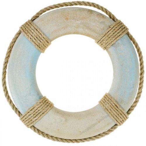 Aro de natación de madera, decoración marítima, aro salvavidas Ø31cm